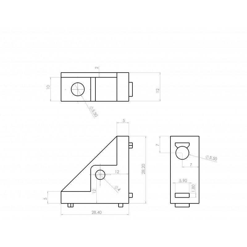 Equerre de fixation profilés 6 mm + trou de fixation M5