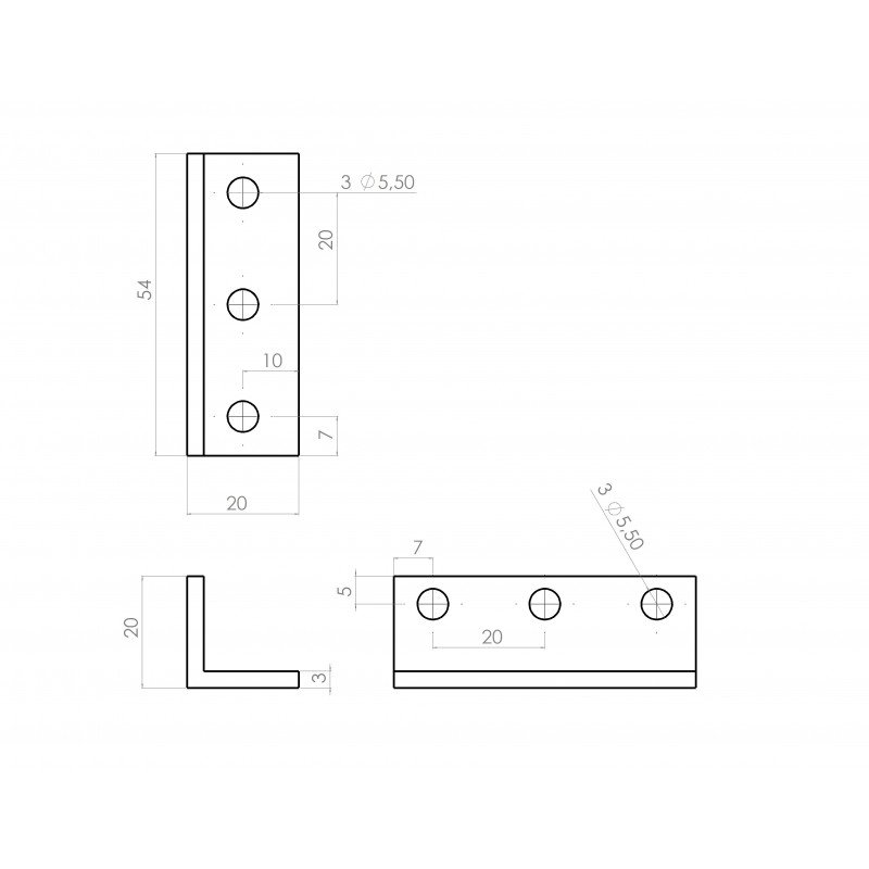 Triple slim bracket for 6mm slot aluminium profile