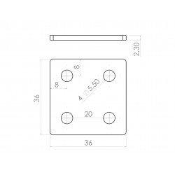 Plaque de fixation double pour profilés 20x20 à fente de 6 mm - Avec visserie
