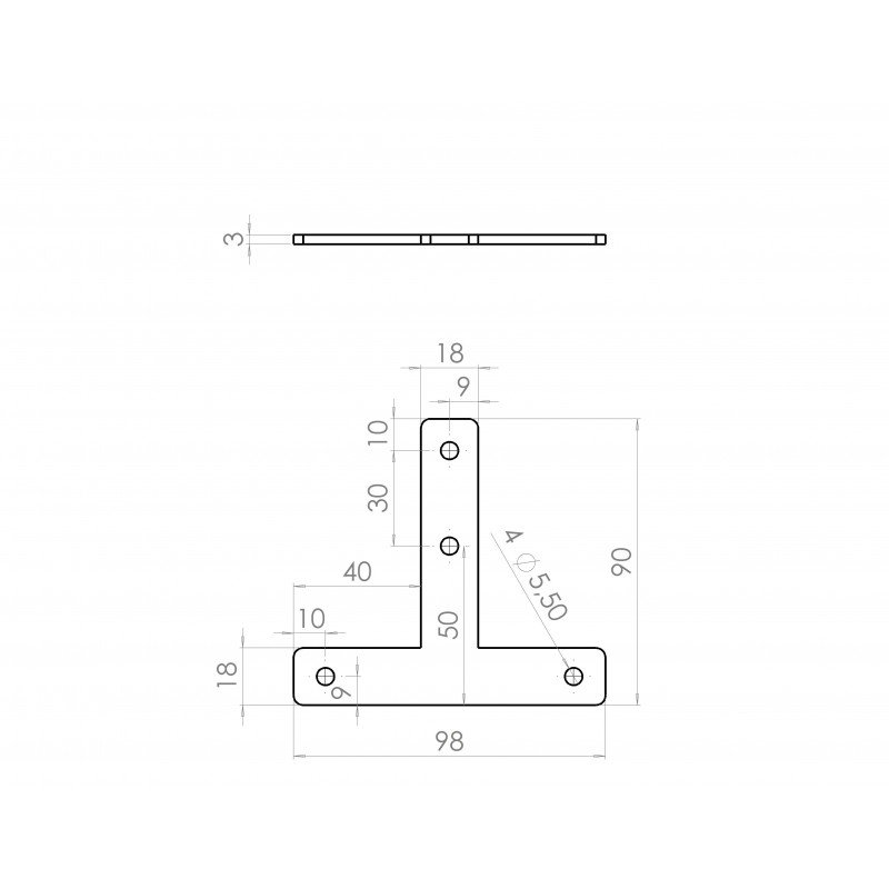 T-shaped fastening plate for 20x20 profile with 6mm slot