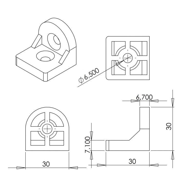 equerre d 39 angle pour profil s 30x30. Black Bedroom Furniture Sets. Home Design Ideas