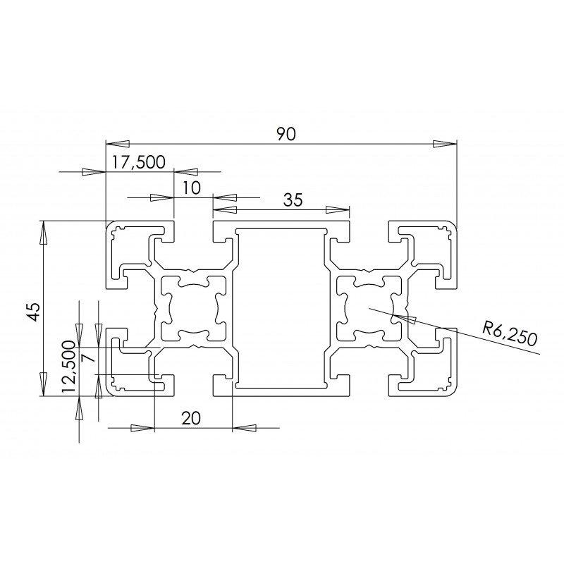 Aluminium profile 45x90 10mm slot – light