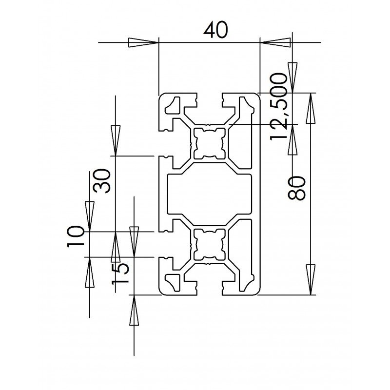 Aluminium profile 40x80 10mm slot
