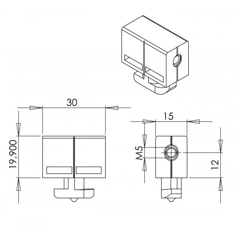 Multiblock fastener for 5mm panel – 10mm slot profile