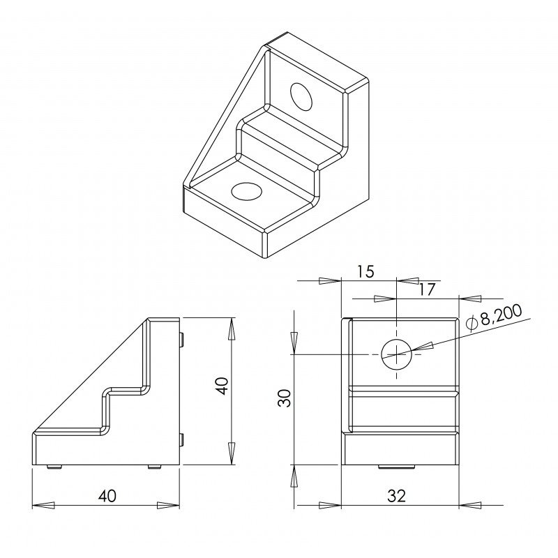 Fastening bracket for 10mm profiles – for 40 or 80 profiles