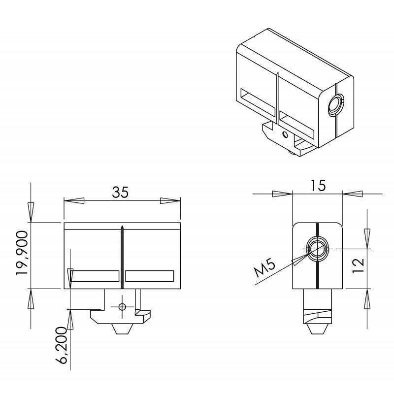 Fixation multiblock pour panneau 5 mm - profilé à fente de 10 mm type 45