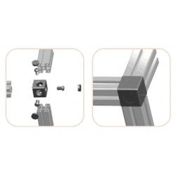 Assembly connector – three 8mm profiles – Grey