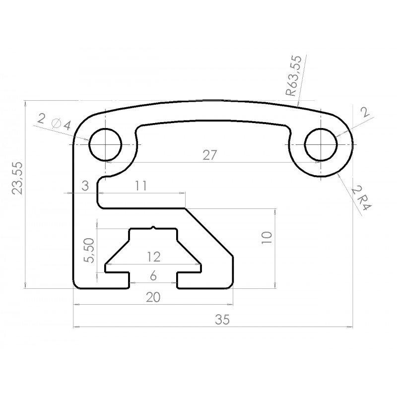 Aluminium profile handles – Grey