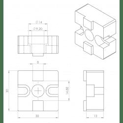 Kit connecteur en T 30x30