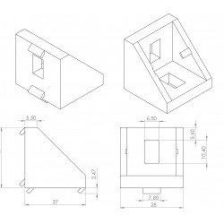 Fastening bracket 27x27 for 8 mm slots profiles