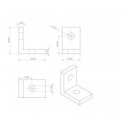 Slim bracket for 8mm slot aluminium profile