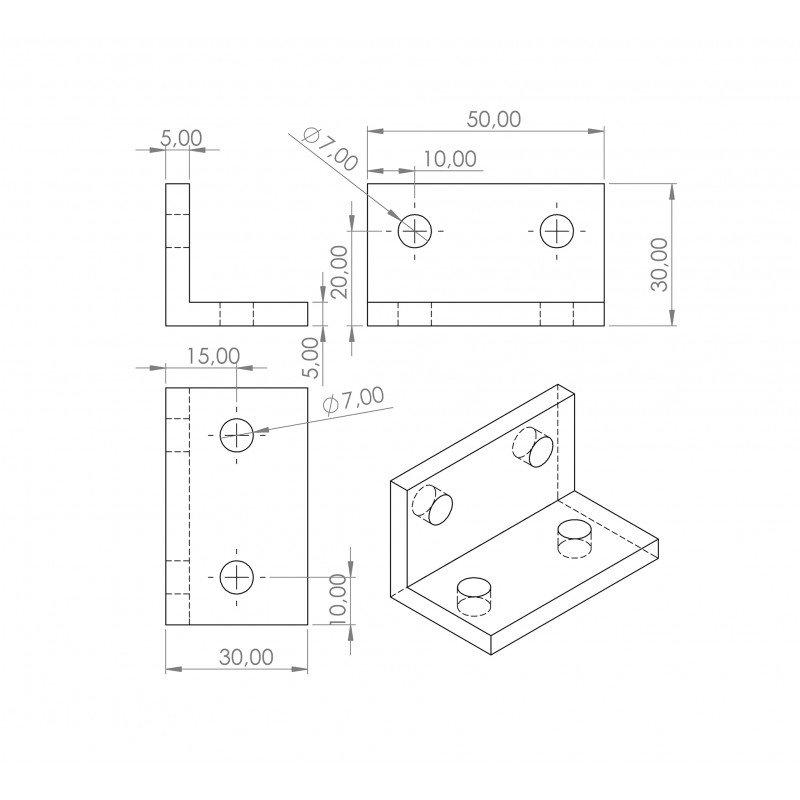 Double slim bracket for 8mm slot aluminium profile