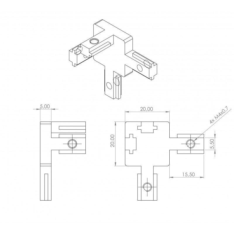 Raccord d'assemblage interne - 3 profilés fente de 6 mm