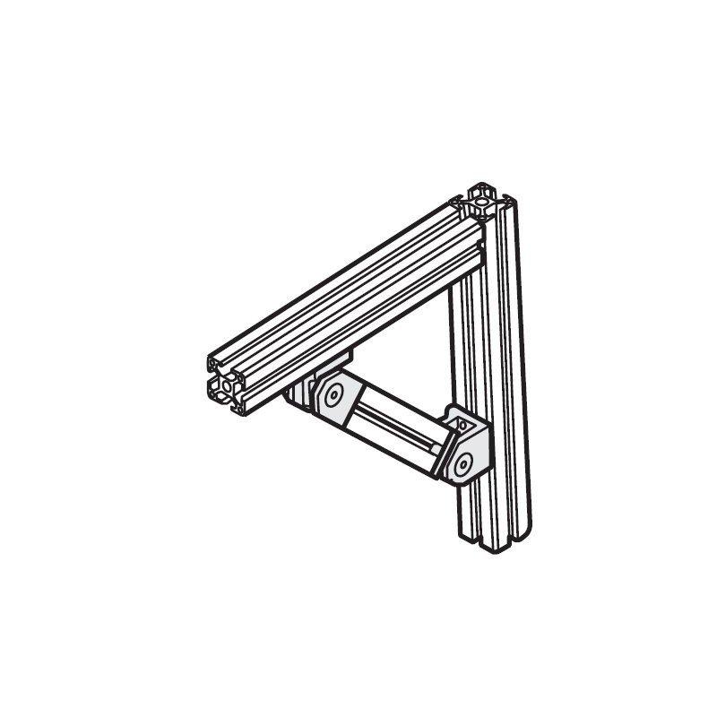 Articulation pour profilé 30x30 - Fixation d'une extrémité et d'une faces latérale- Visserie incluse