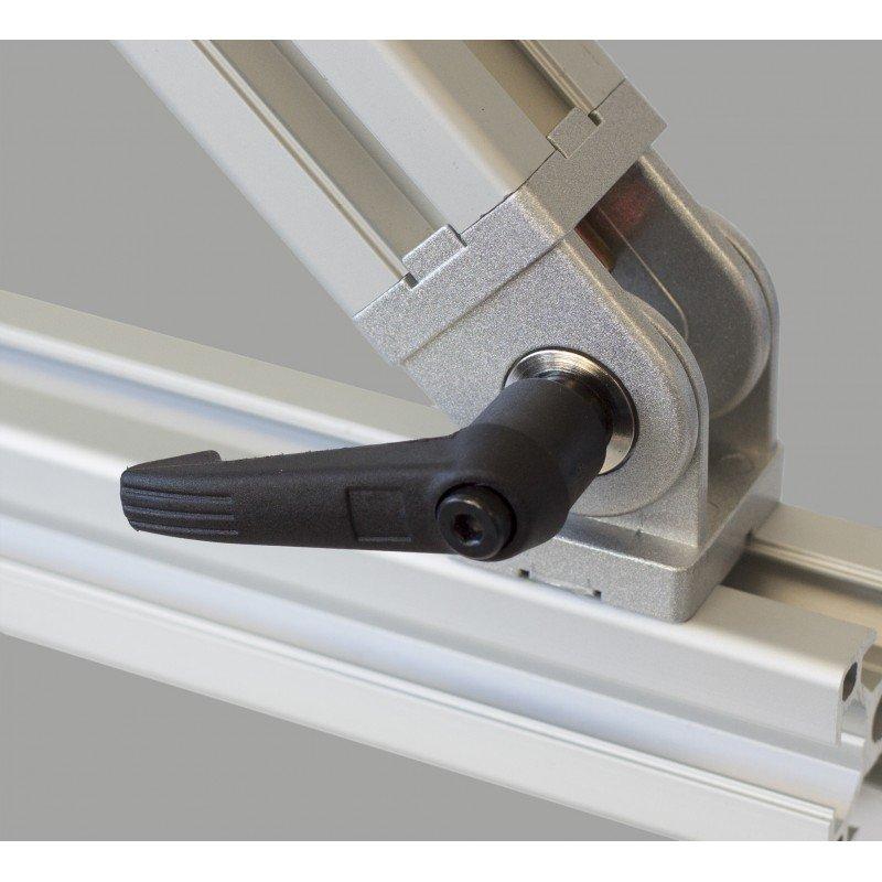 Articulation pour profilé 20x20 fente de 6 mm - Avec levier de serrage