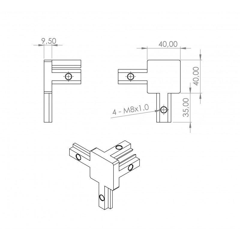 Raccord d'assemblage interne - 3 profilés fente de 10 mm