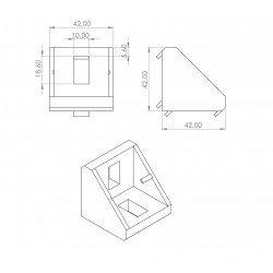 Fastening bracket 42x42 for 10 mm slots profiles