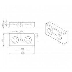 Plaque 40x80 - Filetage M8