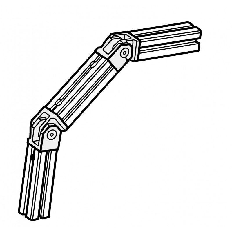 Joint for 40x40 profile – Fastening for 1 end and 1 side – Fixings included