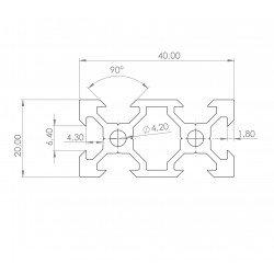 Profilé aluminium V-SLOT 20x40 fente 6 mm