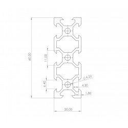 Profilé aluminium V-SLOT 20x60 fente 6 mm