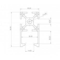 Profilé aluminium 30x30 fente 8 mm - pour porte coulissante