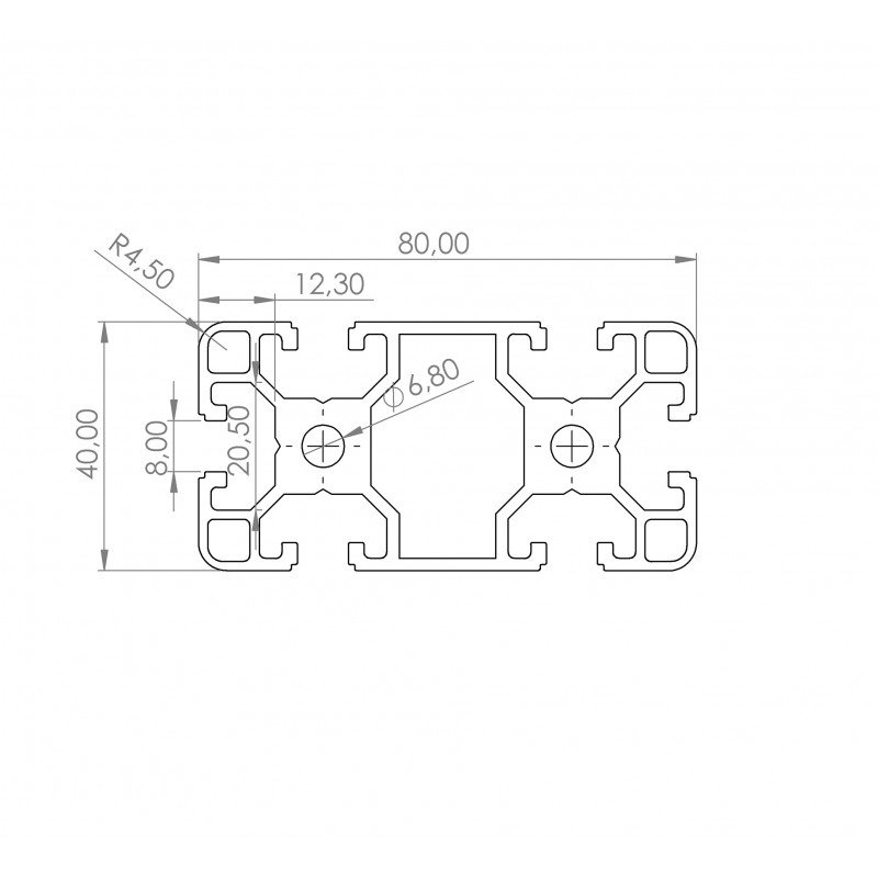 Aluminium profile 40x80 8mm slot