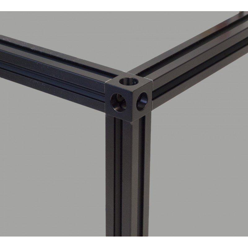 Cubic joint connection for 20x20 mm profiles - 3 ways - black