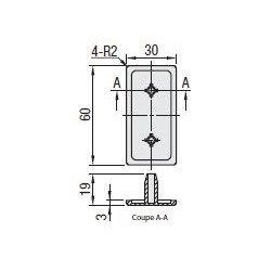 Embout de protection pour profilés aluminium 30x60 fente de 8mm - Noir