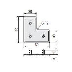 Embout de protection pour profilés aluminium 60x60x30 fente de 8mm - Noir