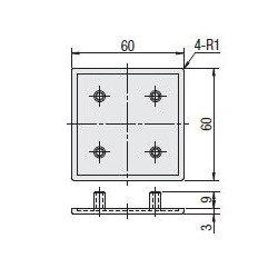 Embout de protection pour profilés aluminium 60x60 fente de 8mm - Gris