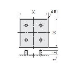 Protective cap for 60x60 aluminium profiles with 8mm slot – Grey