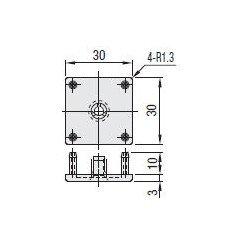 Embout de protection pour profilés aluminium 30x30 fente de 8mm - Gris - Montage à vis incluse