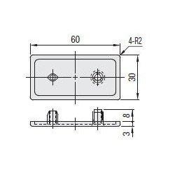 Embout de protection pour profilés aluminium 30x60 fente de 8mm - Gris - Montage à vis incluse