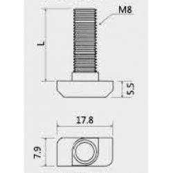 Boulon marteau M8x25 pour profilés 40 fente de 8 mm