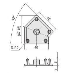 Embout de protection noir pour profilés 2-ANG45-AS-10-4040 - Noir