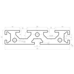 Flat aluminium profile 70x15 – 6 and 8mm slots