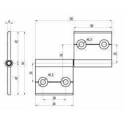 Aluminum detachable hinge for profiles 40