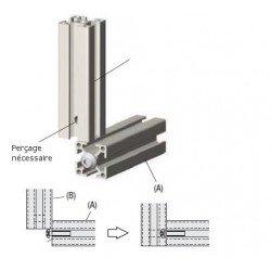 Vis et plaquette de raccord borgne pour profilé à fente de 6 mm