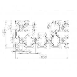 Profilé aluminium V-SLOT C-BEAM 40x80 fente 6 mm  - Anodisé noir