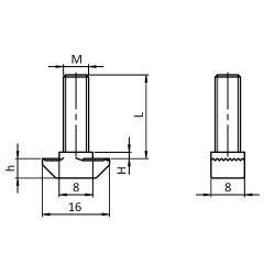 Boulon marteau M8x20 pour profilés à fente de 8 mm