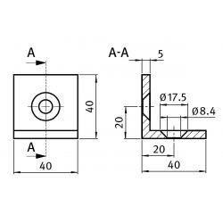 Steel bracket 40x40x40 - Black
