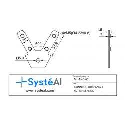 Connecteur d'angle 60° Makerlink