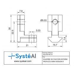 Inner fastening bracket for 8mm profiles - R version