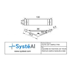 Fastening bracket 135° for 8 mm profile with one groove