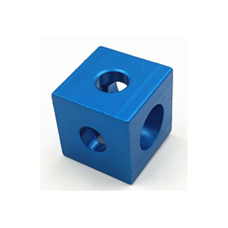 Cubic joint connection for 20x20 mm profiles - 3 ways - blue