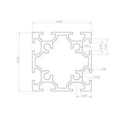 Profilé aluminium 60x60 8 fentes 8 mm