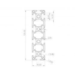 Aluminium profile 30x120 8mm slot