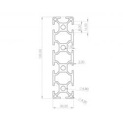 Profilé aluminium 30x120 fente 8 mm