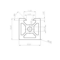 Aluminium profile 20x20 6mm slot